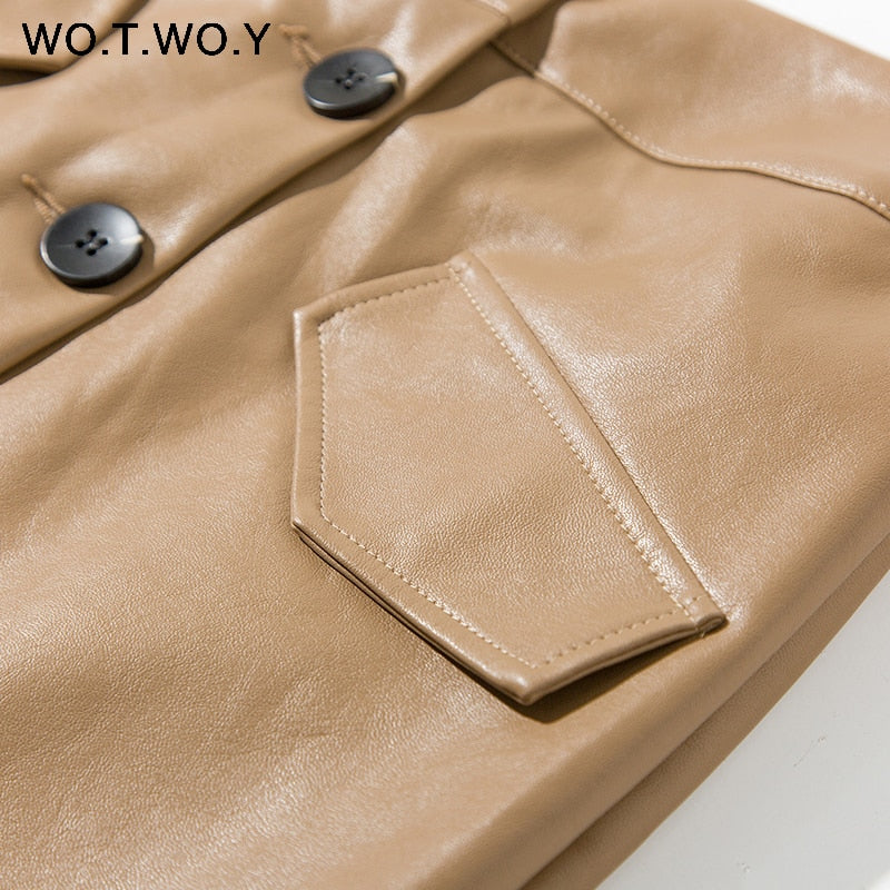 WOTWOY Elengant High Waist Leather Penci Skirt Women Multi Button Wrapped Skirts New