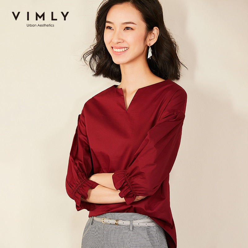 Vimly 2020 Autumn Women V-neck Blouse Office Lady Elegant