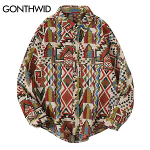 GONTHWID National Style Knitted Geometric Patterns Color Block Button Shirts