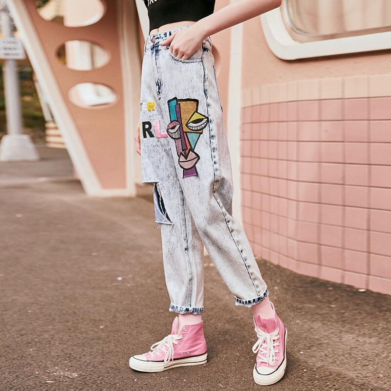 Denim pants fashion cartoon embroidery women jeans
