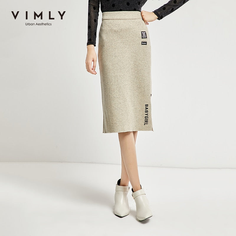 Vimly Pencil Skirts Women Autumn Winter Vintage Split Printed High Waist Mid Calf Bodycon