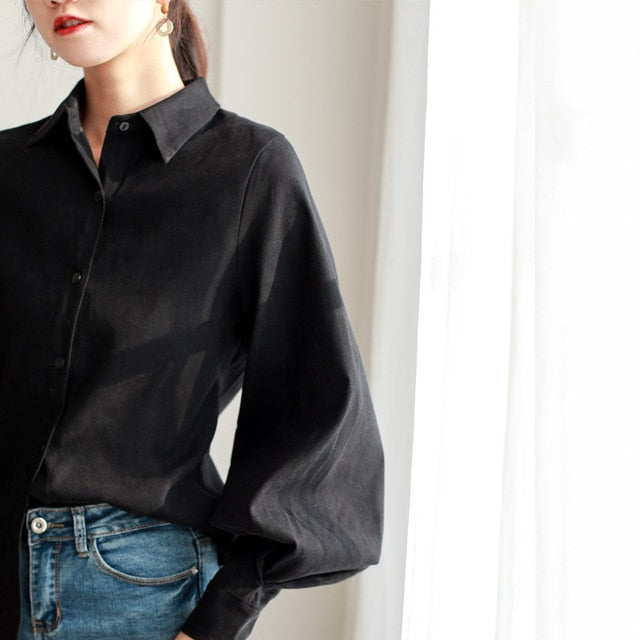 Women blouse vintage Turn-down Collar Spring Autumn Lantern sleeve women shirts