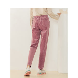 INMAN Spring Autumn Comfortable Elastic Cotton Harem Solid Corduroy Women Casual Pants