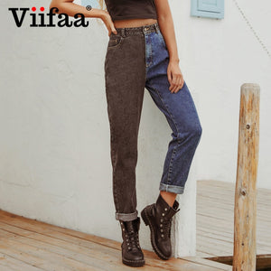 Viifaa Black and Blue Two Tone High Waist Denim Jeans for Women