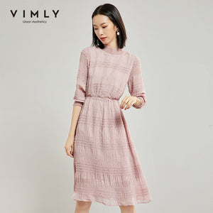 Vimly Women Chiffon Elegant Dress Autumn Winter Office Lady Solid O Neck Half Sleeve