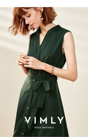 Vimly Women Fashion Solid Women Shirt Dress Causal Lapel sleeveless Single-breasted Loose Dress Tops