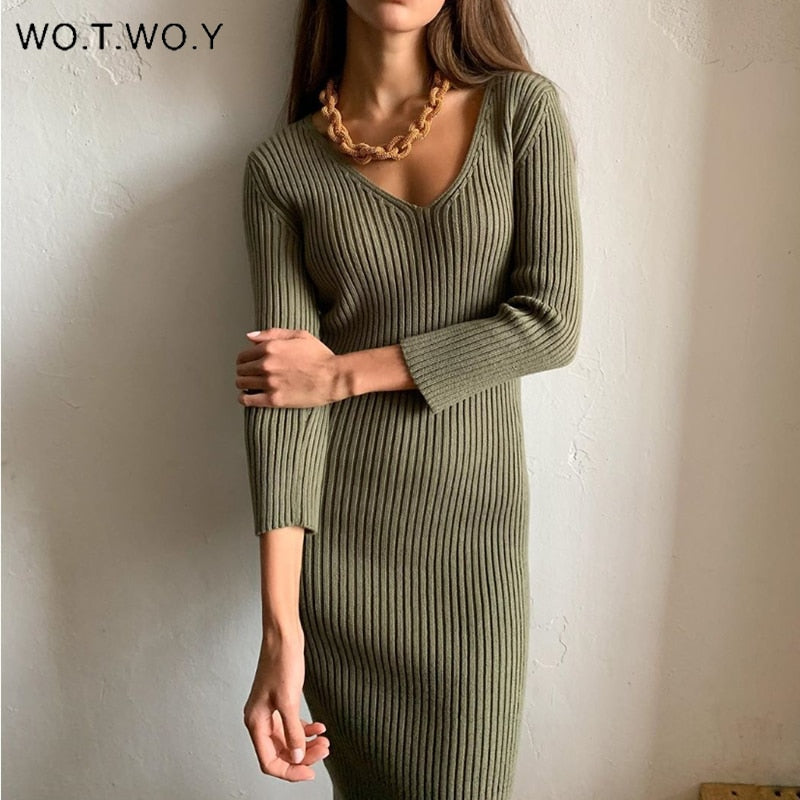 WOTWOY V-Neck Wrapped Knitted Dress Women Autumn Solid Sheath Sweater Dresses