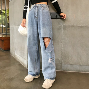 Woman Jeans High Waist Ripped Jeans big size