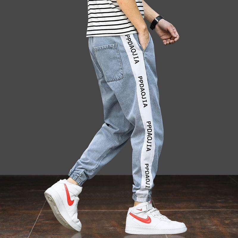 Blue Black Cargo Pants Loose Harlan Capri Ankle Banded Pants Casual Hip Hop Stretch Jeans