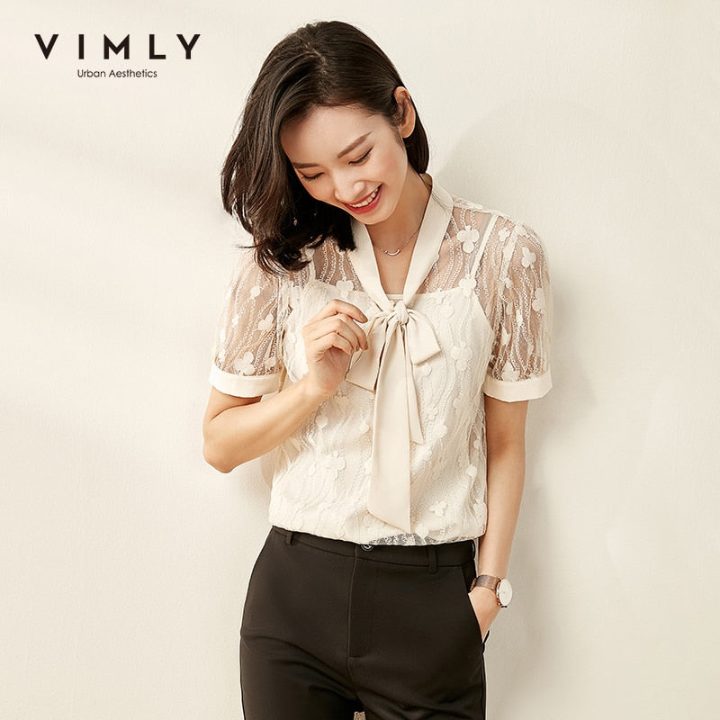 Vimly 2020 Summer Women Lace Hollow Blouse with Camisole Office Lady