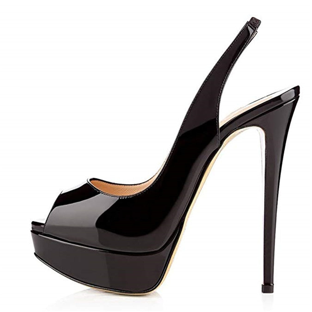 Women's Shoes Solid Peep Toe High Heels Stiletto Ankle Straps Pumps