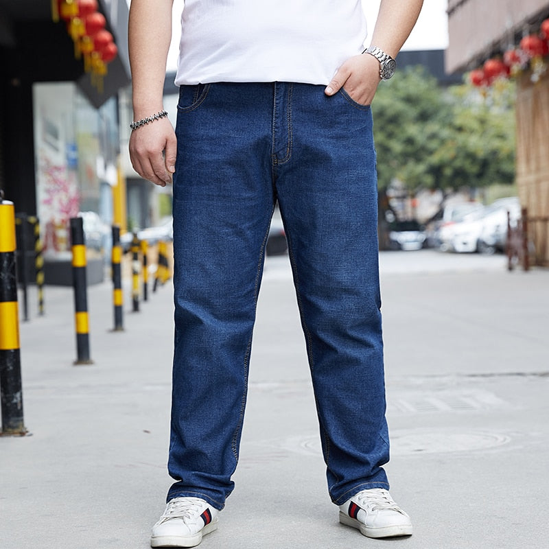 New men's stretch jeans plus fertilizer plus extra size loose wide-leg pants fat casual fashion