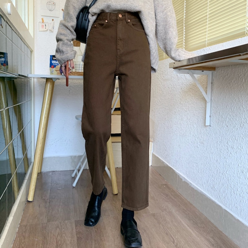 New Brown Straight Denim Vintage Slender Office Lady Jeans Women Trousers