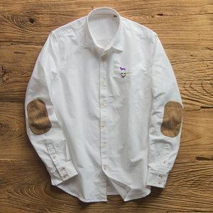 Men's Long Sleeve Oxford embroidery harmont Elbow patch Shirts