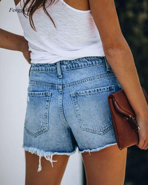 Women Ripped & Repaired Denim Shorts High Waist Bodycon Distressed Hole Bottoms
