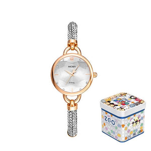 Disney Original New Arrival Micky Mouse Woman Casual Japan Quartz Wrist Watch Rhinstone Scale Waterproof Girl Female Clock