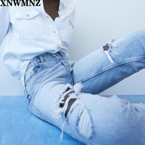 Za Vintage mom jeans high waisted jeans woman ripped boyfriend jeans for women