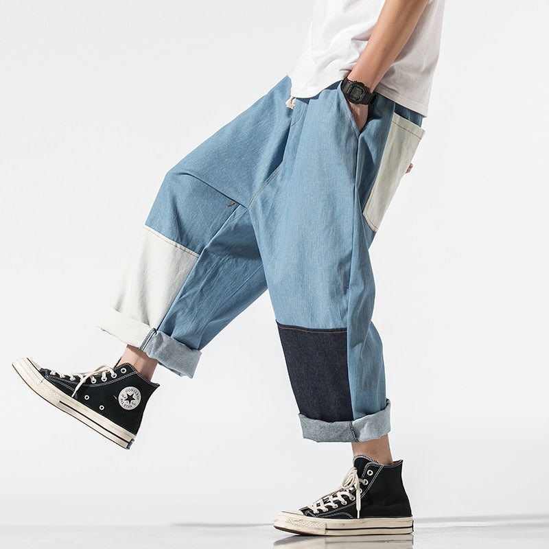 Streetwear Mens Jeans Pants Ankle-Length Japanese Casual Jeans Men
