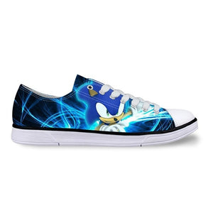 Classic Sonic the Hedgehog Printing Unisex Canvas Shoes For Men Classic Flats Canvas