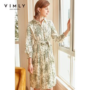 Vimly Vintage Floral Dress Elegant Turn Down Collar Single Breasted High Wais