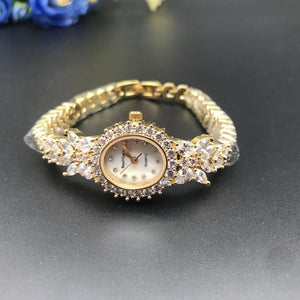 Herhome  Qualtiy AAA Zircon Elements Leaf Austrian Crystal Bracelet Watch