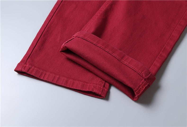 Classic Style Men's Wine Red Jeans Fashion Business Casual Straight Denim Stretch Trousers