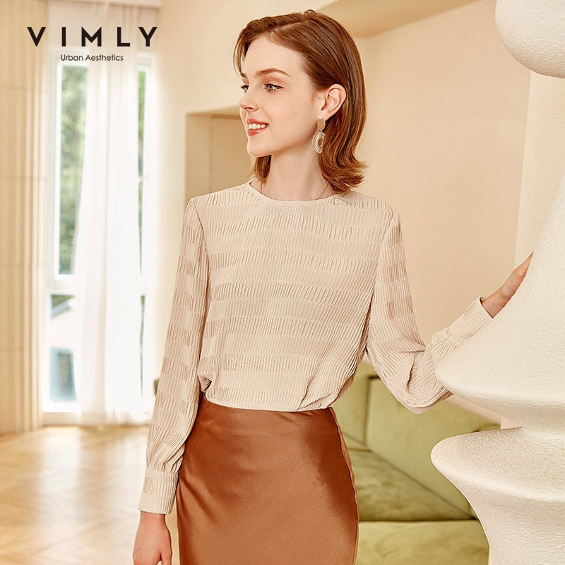 Vimly Women Chiffon Shirts Elegant Office Lady O Neck Long