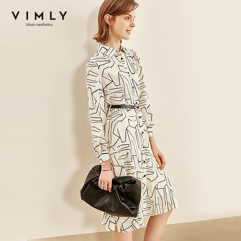 Vimly OL Style Shirt Dress Women Fashion Turn Down Collar High Waist