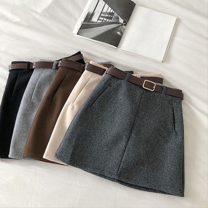 England Solid Women Belt Skirt winter fashion High Waist A-line pocket Skirt