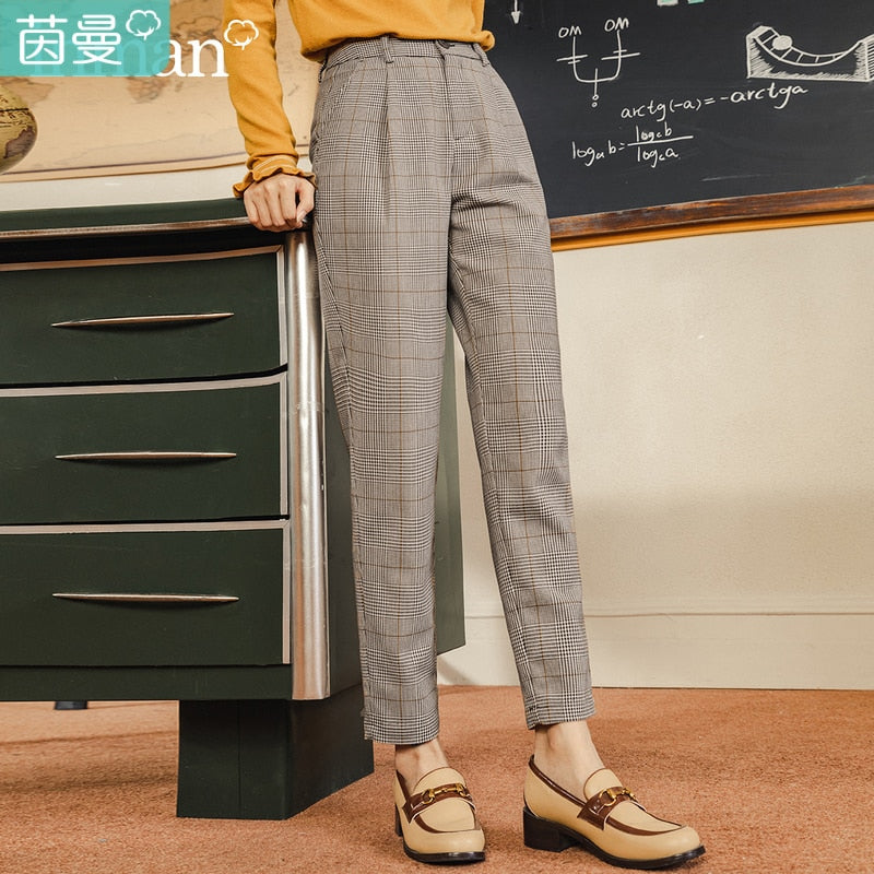INMANNew Arrival Suit Pants Retro Plaid Slimming Straight Skinny Harem Pants