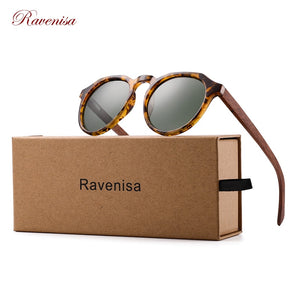 Ravenisa Wood Sunglasses Polarized Sunglasses Women Men Vintage Round Sun Glasses