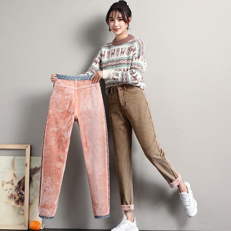 Winter Jeans for Women Velvet Thick Warm Denim Pants