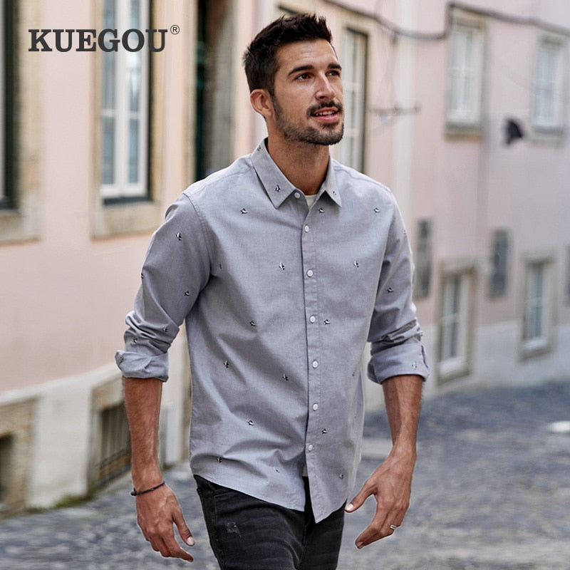 KUEGOU Men's Shirt Long Sleeve Gray fashion Shark fashion embroidery 100% Cotton Shirts men top