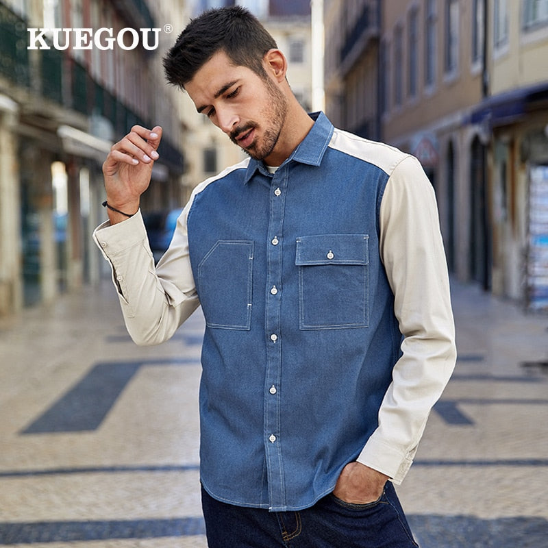 KUEGOU Cotton contrast color Patchwork Men's shirts long