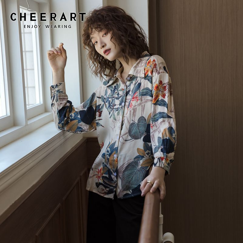 CHEERART Plant Floral Print Vintage Blouse Long Sleeve Tops And Blouses