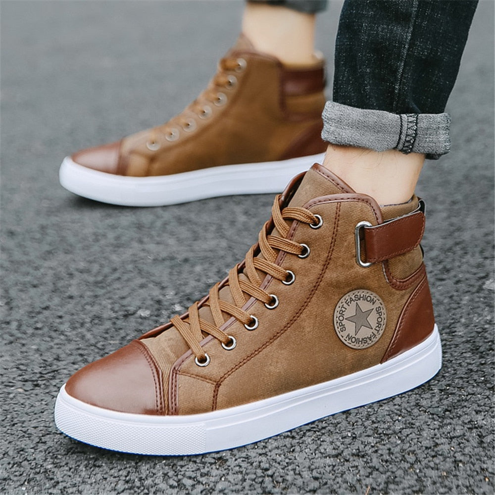 Men Winter Autumn Fur Warm Shoes Lace-up High Top Sneakers Casual Leisure