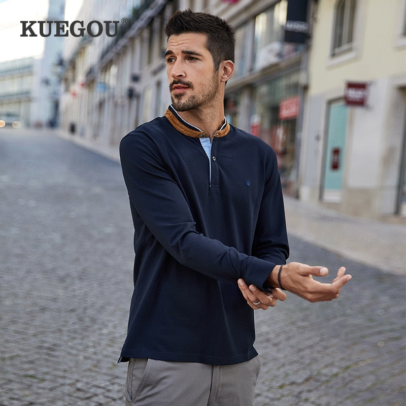 KUEGOU Cotton Autumn Clothing Men's Polo shirt Long sleeve Fashion