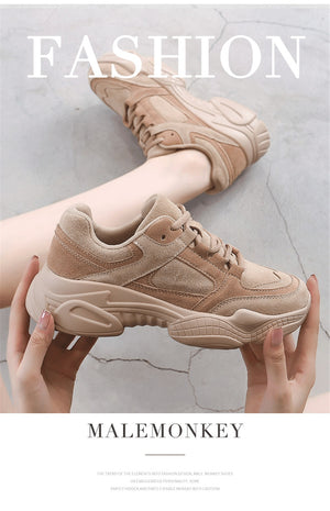 Women Sneakers Shoes White 2020 Spring Sport Thick Sole Lady Leisure Shoes Lace Up