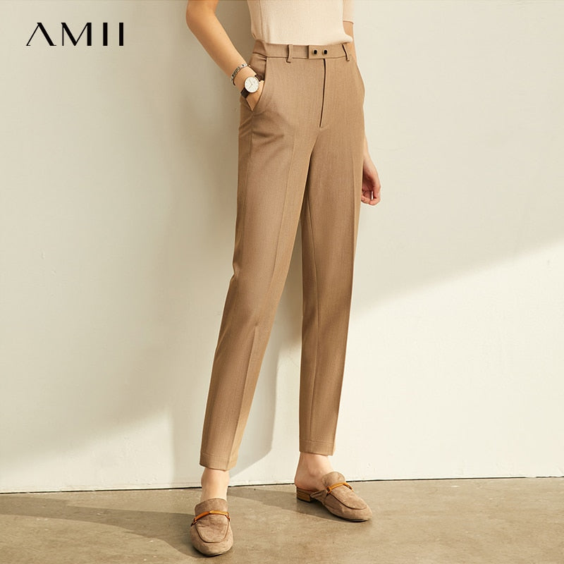Amii Spring Autumn Pants Office Lady Solid Nine Points Loose Female Trousers