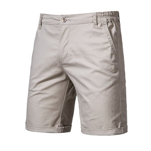 100% Cotton Solid Shorts Men High Quality Casual Business Social Elastic Waist Men Shorts