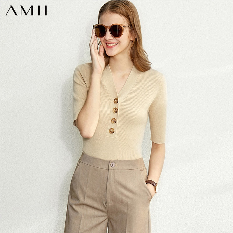 Amii Minimalism Vneck Knit Shirt Women Fashion