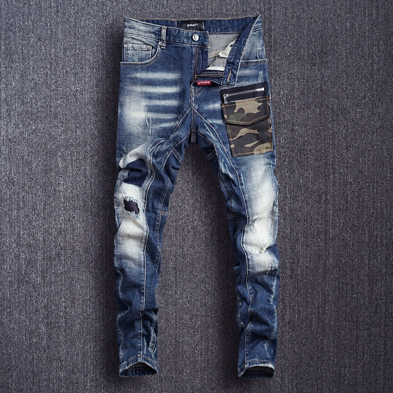 Italian Style Fashion Men Jeans High Quality Camouflage Pocket Spliced Designer Ripped Jeans