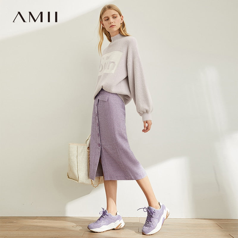 Amii Spring French A-word Half Skirt  Women High Waist Plaid Knee-Length