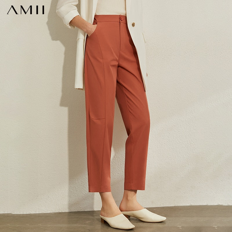 AMII Minimalism Spring Summer OLstyle Caual High Waist Women Pants