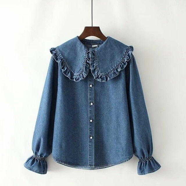 Women Blouse And Tops 2020 Autumn New Style Ruffled Peter Pan Collar