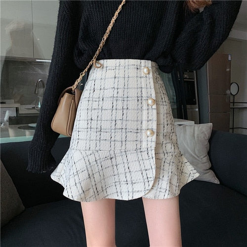 Skirts Women Korean Chic Autumn New Black Mermaid High Waist Ruffles Skirts Slim Winter Vintage