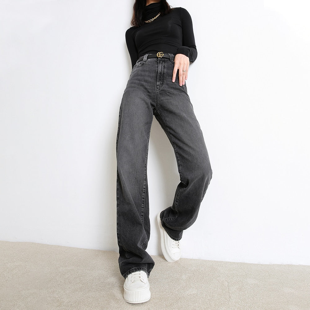 Women's Casual Denim Pants High Waisted Wide Leg Jeans