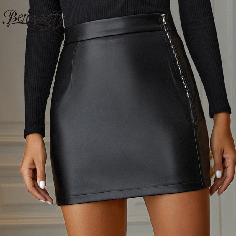 Benuynffy Black Zipper High Waist Short Skirt Women Sexy PU Leather Club Wear