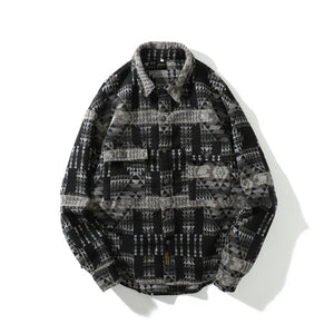 Winter Autumn Thicken Flannel Woolen Shirt Men Streetwear Vintage Folk-custom Pattern