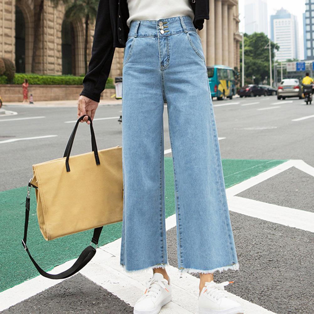 Casual Women Jeans High Waist Clothes Straight Wide Leg Loose Denim Pants